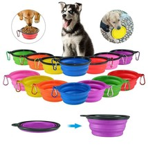 Pet Cat Dog  Food Water Feeding Travel Silicone Portable Collapsible Bow... - $3.99
