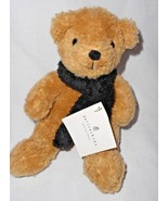 "Pottern Barn Oliver Teddy Bear Brown Black Scarf Plush Stuffed Animal 9""... - $15.82"
