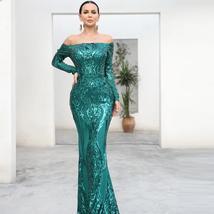 Long Sleeve Reflective Green Sequin Off Shoulder Retro Maxi Dress