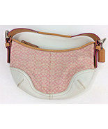 Coach Hobo  A043-6351 Pink & White Fabric Leather C Signature Bag  - $62.71