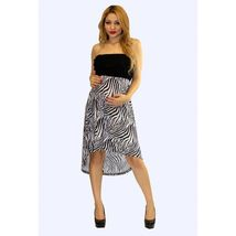 Sexy Strapless Black and Zebra Print Party Club Cruise Maternity Hi-Lo D... - $34.99