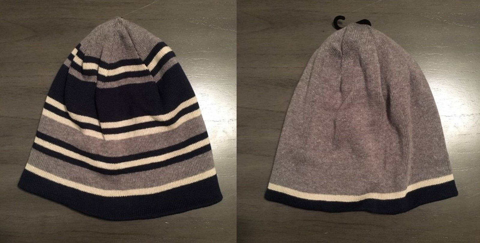 NWOT Levi's Reversible Dark Blue, Gray & Cream Beanie Hat One Size Fits Most - $16.99