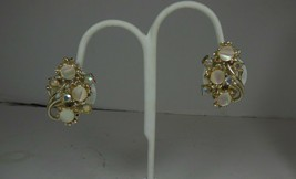 Vintage Mother of Pearl & Aurora Borealis Floral Clip on Earrings - $10.88