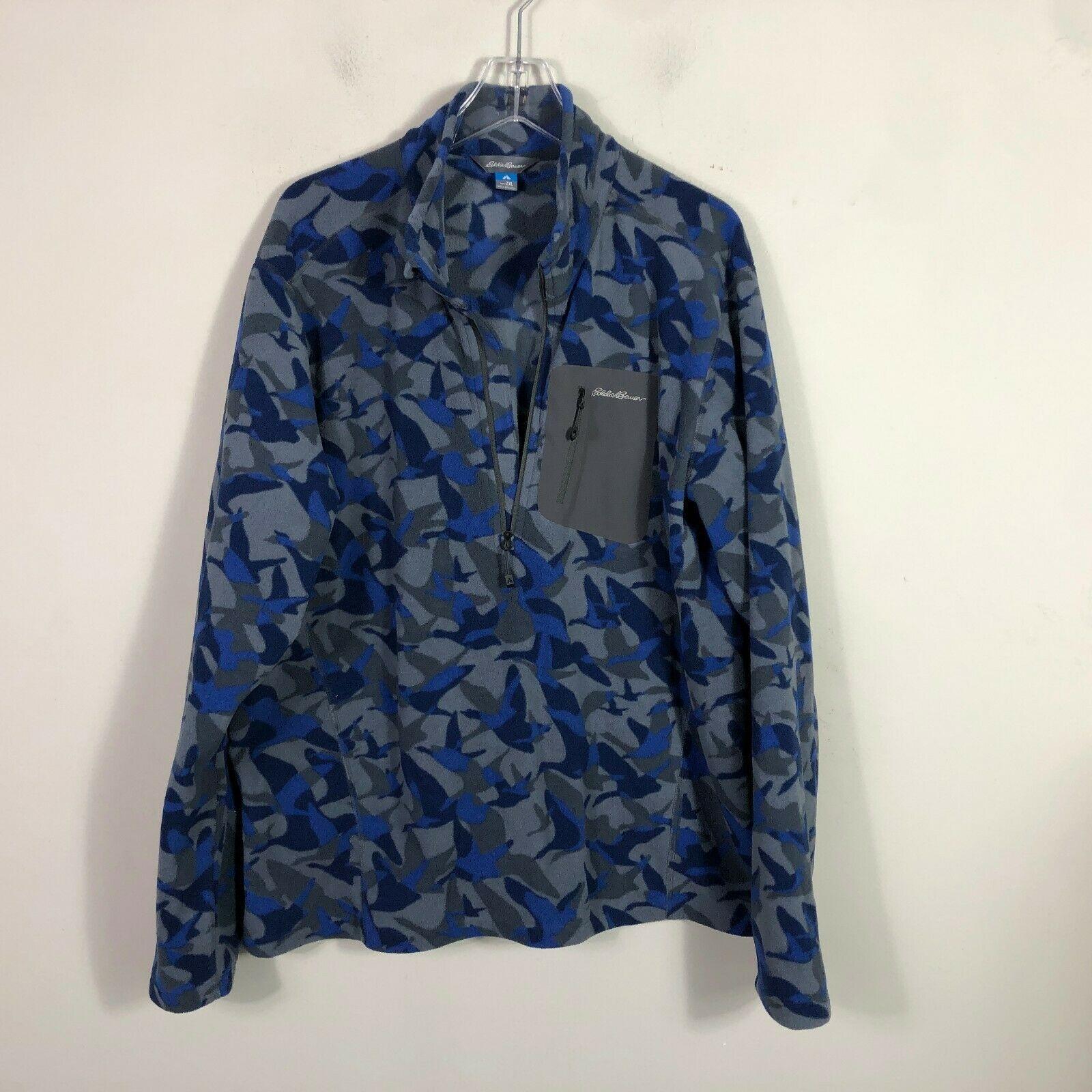 Eddie Bauer First Ascent Fleece Jacket 1/2 Zip Men's 2XL Blue Gray Long Sleeve