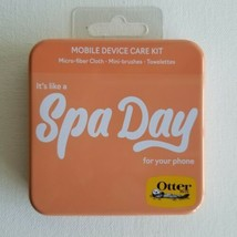 OtterBox Cell Phone Mobile Device Care Kit Tin SPA DAY Cloth Brushes Tow... - $8.98