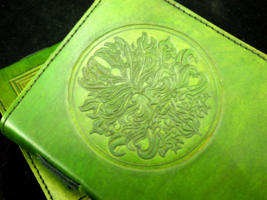 GREEN MAN Handmade Leather Journal - Wicca Pagan Book of Shadows Grimoire - $22.50