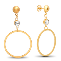 STEELTIME 18K Gold Plated Stainless Steel round drop earrings adorned - $22.99