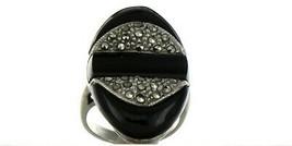 Vintage Ladies Size 5.25 Sterling Silver Onyx Fashion Ring No. 2143