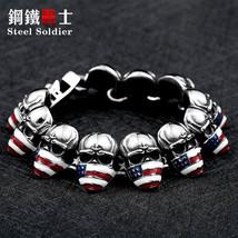 Steel soldier  2016 New Cool Punk American Flag skull Bracele 316 Stainless Stee - $34.16