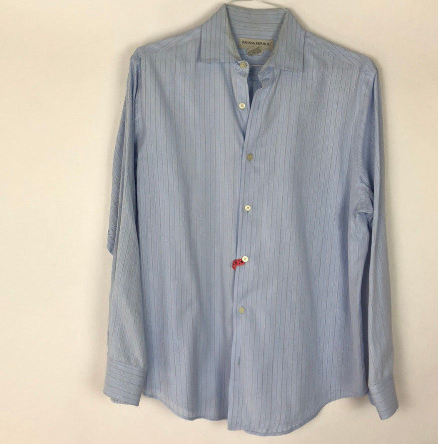 NEW MENS BANANA REPUBLIC L//S SLIM FIT STRIPES DRESS SHIRT BLUE PICK A SIZE