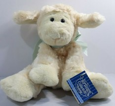 "** Heritage Collection Dimitri Lamb Sheep Blue Bow 9"" Beanie Cream - $22.40"