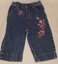 Blue Jeans Denim Flowers Embroidered Size 12 Months Girls OshKosh Pull On - $9.99