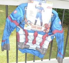 Child Captain America Halloween Costume Size L 10-12 Muscle Chest Marvel Comics - $15.86