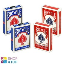 4 DECKS BICYCLE RIDER 2 BLUE 2 RED DOUBLE BACK NO FACE MAGIC TRICKS CARD... - $34.64