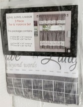 "3pc Printed Curtains Set: 2 Tiers & Valance(58""x14"") LIVE LAUGH LOVE,gre... - $23.75"