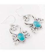 Turquoise Matrix Vintage Solid 925 Sterling Silver Earrings, Handmade Je... - $35.99