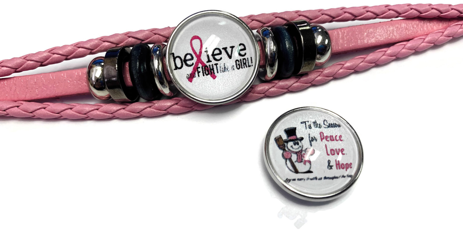 Tis The Season Breast Cancer Snaps Pink Leather Bracelet W/2 Snap Jewelry Charms image 4