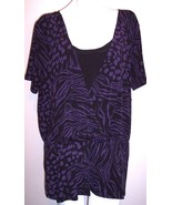 George Top 20 New Black Purple Stretch Knit 2-Fer Shirt Blouse Size 2XL NWT - $14.50