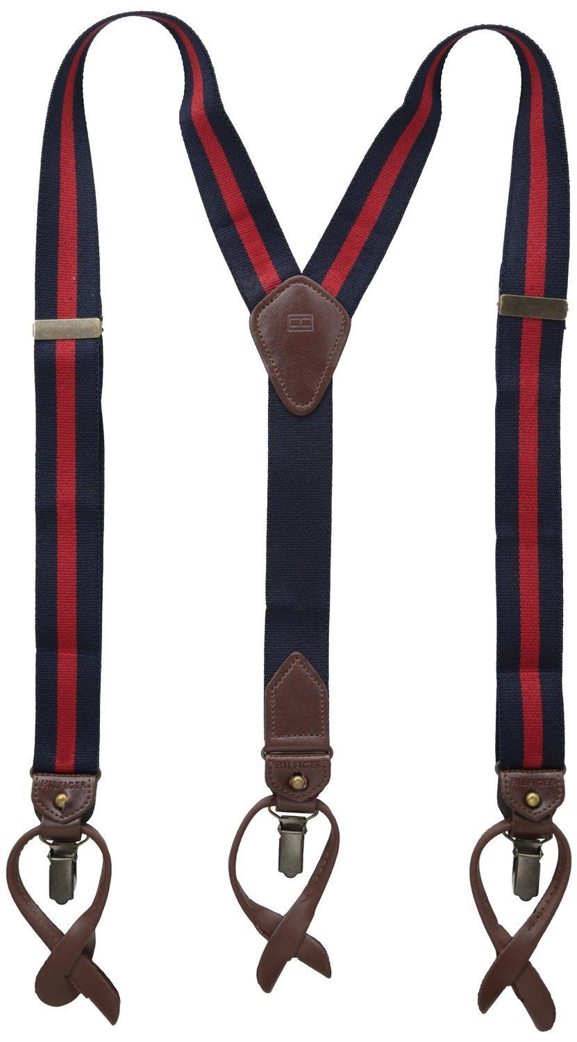 NEW TOMMY HILFIGER MEN'S CLASSIC VINTAGE LOOK SUSPENDERS NAVY RED 21TL61x005
