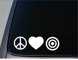 "Peace love Bullseye sticker H77 8"" vinyl shooting range target - $3.96"
