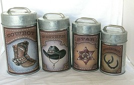Cowboy Western Galvanized Metal Canister Set Horseshoe Star 4 pc Americana - $49.49