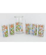 Retro Geometric Design Glass Pitcher & 5 Glasses Made In Italy - $35.00