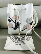 New Ralph Lauren Mini Debby II Floral Drawstring Bag (Vanilla Multi White) - $118.50