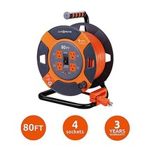 Link2Home Cord Reel 80 ft. Extension Cord 4 Power Outlets – 14 AWG SJTW Cable. H - $98.89