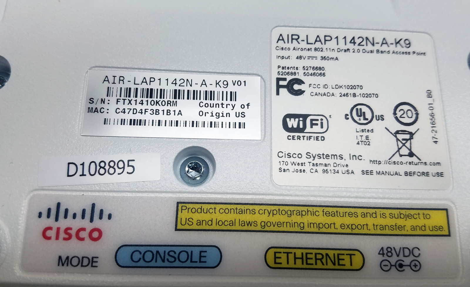 (Lot of 10) Cisco Air-Lap1142N-A-K9 Dual Band Access Points Bin:1