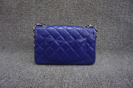 AUTH Chanel RARE ELECTRIC BLUE Quilted LAMBSKIN Large Mini 20CM Flap Bag GHW  image 2