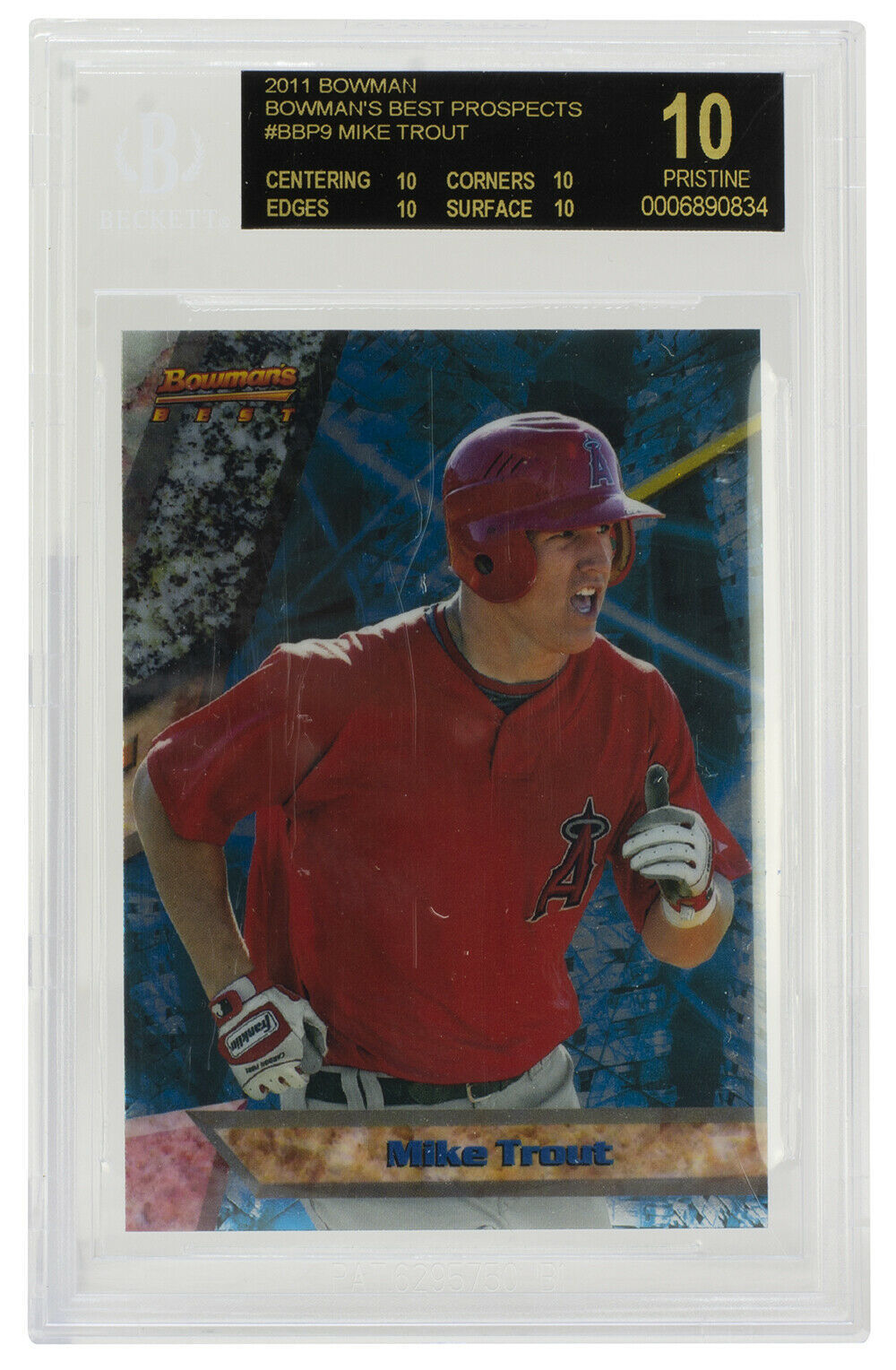 Primary image for Mike Trout 2011 Bowmans Best Prospects Card  #BBP9 Angels BGS 10 Black Label