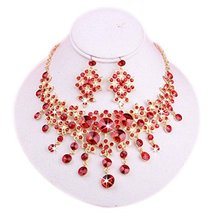 Beautiful RED Bead Glamorous Wedding Necklace and Earrings Jewelry Set for Bride