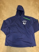 Vancouver Canucks Fanatics Authentic Pro Rinkside 1/4-Zip Hooded Jacket Size XL - $49.49