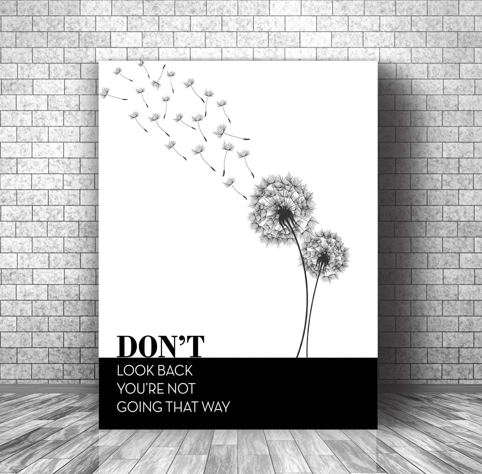 INSPIRATIONAL MOTIVATIONAL QUOTE SAYING • Black & White Canvas Plaque Wall Art