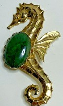 Vintage Seahorse Green Stone Belly Brooch Pin Gold Tone - $17.77