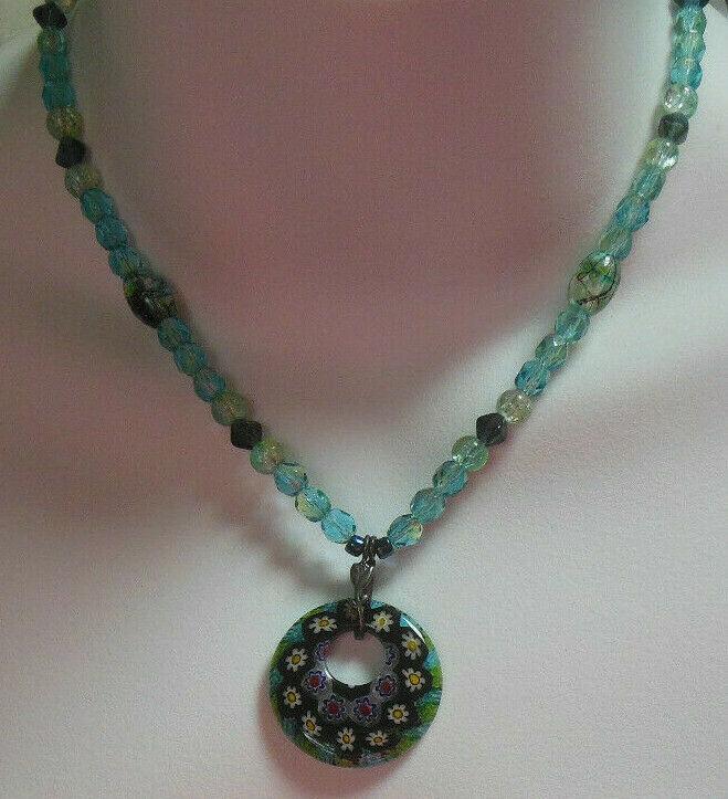 Vintage Floral Art Glass Bead Pendant Necklace 925 Silver Pendant clasp