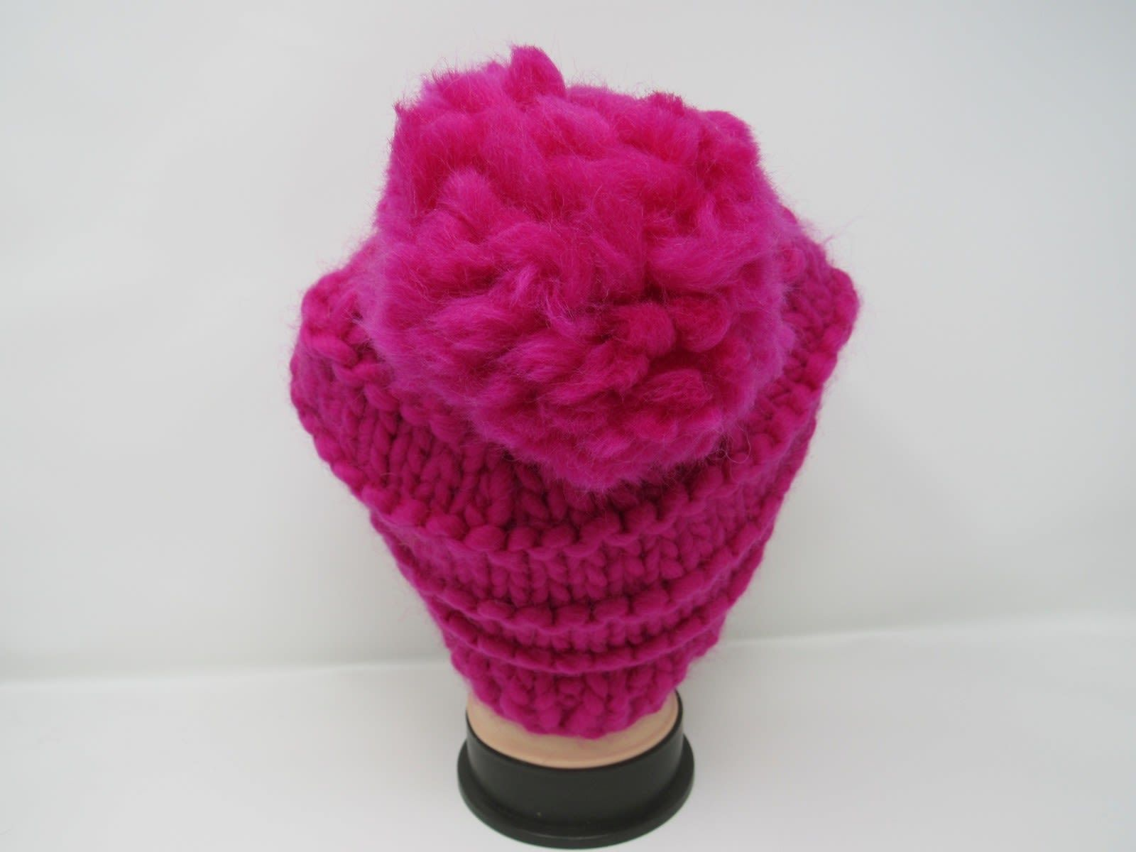 Handcrafted Knitted Hat Beanie Hot Pink Pom Pom 100% Merino Wool Female Adult