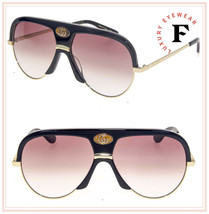 GUCCI Guilloché 0477 Black Gold Aviator Brown Vintage Unisex Sunglasses ... - $306.90