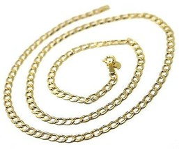 """9K GOLD GOURMETTE CUBAN CURB LINKS FLAT CHAIN 4mm, 50cm, 20"""", BRIGHT NECKLACE image 2"""
