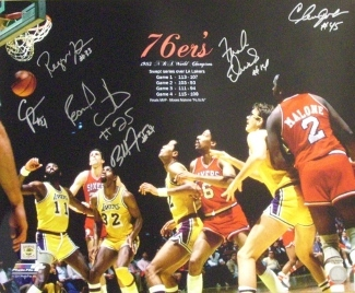 Primary image for Philadelphia 76ers signed 16x20 Photo 1983 NBA Champions w/ 6 Signatures vs Lake