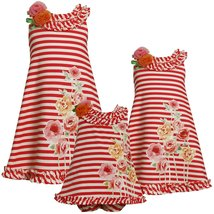 Bonnie Jean Baby Girl 12M-24M Striped Knit Sequin Rose Screen Print A-line Dress image 2