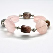 Bracelet in Sterling Silver 925 Laminate Rose Gold with Rose Quartz and Chalc... image 3