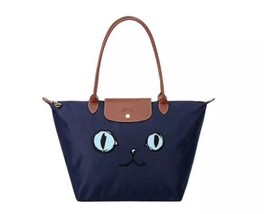 Longchamp Le Pliage Miaou Cat Large Tote Bag Long Handle Blue Eyes Nay Blue - $155.00