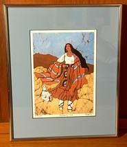 MAIDEN OF TAOS ORIGINAL BATIK FRAMED ART BY DICK & TRISH MARTIN 813/1250 - $55.00