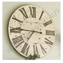 Farmhouse Wall Clock Whitewashed 36D Round Wood Hearth and Hand New - $305.80