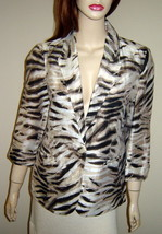 CHICO'S Brown/Pink Animal Print 3/4 Sleeve Linen Blend Jacket (Size 0) NEW - $34.20