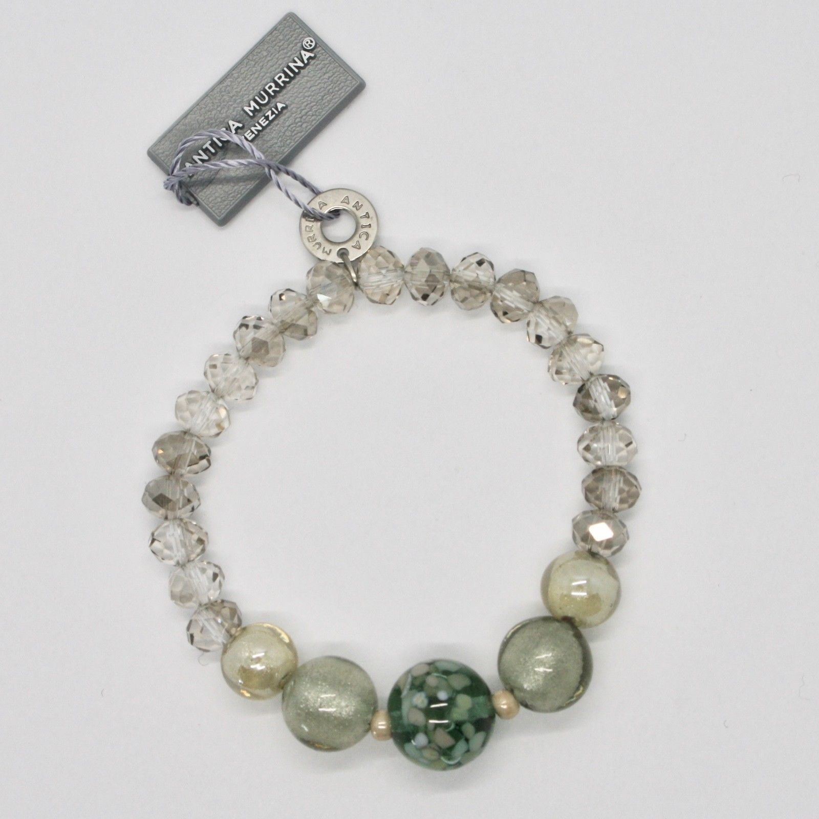 BRACELET ANTICA MURRINA VENEZIA WITH MURANO GLASS GRAY BEIGE GREEN BR797A34