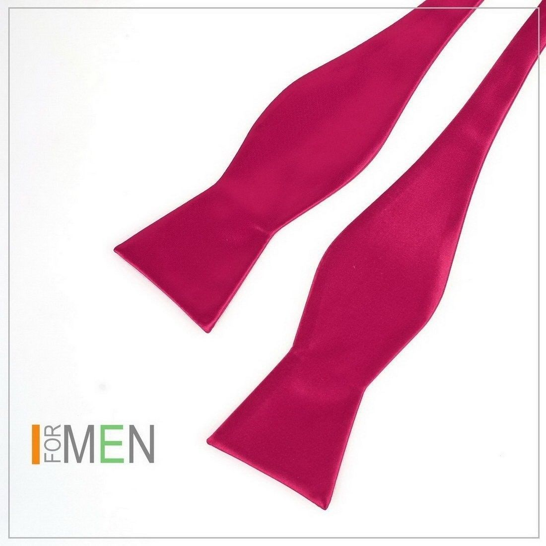 DBA7E01L Hot Pink Plain Self-tied Bow Tie Woven Microfiber Inspire Self Tie Bowt