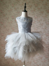 Gray Flower Girl Dress Gray Tulle/Lace Knee-Length Girl's Princess Dress NWT image 2