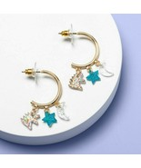new Childrens More Than Magic Half Hoop Charm Earrings Blue Pink Gold DNA - $13.72